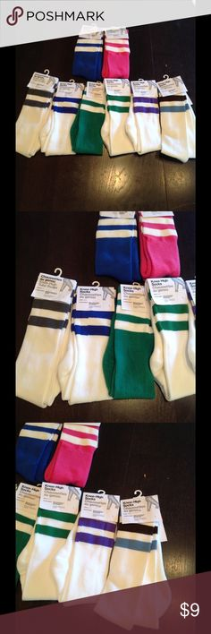NEW! American apparel knee/ calf socks! New, tagged . $9 each or two for $16 top 2 are calf, bottom row knee left far is grey and white, purple white, green white, white green, white purple and then white with baby blue and brown American Apparel Accessories Hosiery & Socks