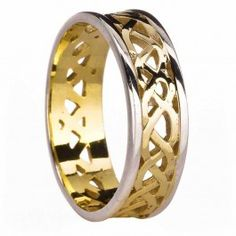 Mens 14K Two Tone Gold Celtic Ring