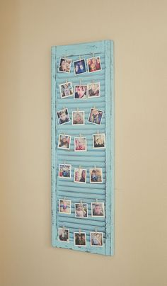 Super cute idea for a picture display on a distressed window shutter! Super cute idea for a picture display on a distressed window shutter! Cadre Photo Polaroid, Polaroid Display, Polaroid Pictures Display, Hang Pictures, Polaroid Wall, Hang Photos, Bedroom Pictures, Old Shutters, Window Shutters