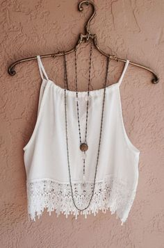 White Plain Condole Belt Lace Hollow-out Round Neck Sexy Vest