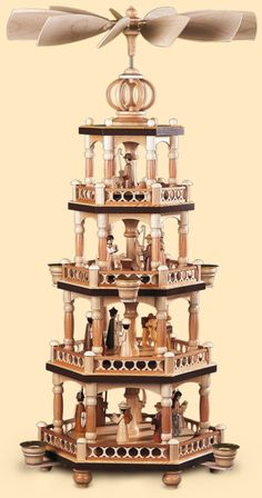 German christmas pyramid Christmas story, 4-tier, height 65 cm / 26 inch, natural, original Erzgebirge by Mueller Seiffen
