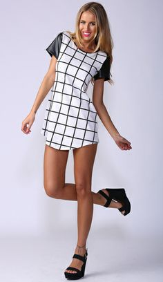 Monochromatic Vision Shift Dress in white with pu detail  popcherry.com $39.99