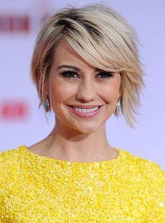 Chelsea Kane Short Hairstyles - Chic Short Sleek Haircut with Side Swept Bangs
