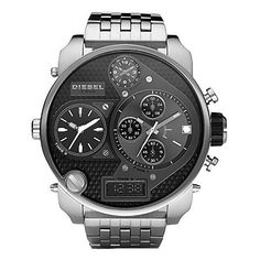 Diesel Mr. Daddy Watch ($350) ❤ liked on Polyvore featuring men's fashion, men's jewelry, men's watches, mens black face watches, diesel mens watches and mens leather strap watches