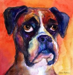 pensive Boxer Dog pop art painting Art Print by Svetlana Novikova. All prints are professionally printed, packaged, and shipped within 3 - 4 business days. Choose from multiple sizes and hundreds of frame and mat options. Dog Pop Art, Dog Artwork, Boxer Puppies, Thing 1, Beginner Painting, Dog Paintings, Illustrations, Dog Portraits, Artist Painting