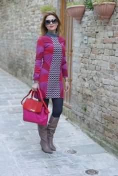 Fuchsia and red mini dress, taupe bootsFashion and Cookies - fashion blog