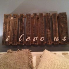 This could be an awesome headboard. Painted white with a pop of color for the letters. DIY Love Pallet String Art