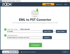 EML to PST Converter developed by Zooksoftware providing top rate of conversion with out hassle, error free, trial version also available.
