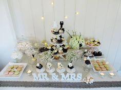 Black & White & Silver Wedding Candy Bar.