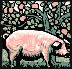 Chester White linocut  by Jill Kerr