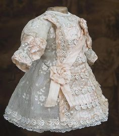 "Antique French Original Lace & silk dress for Jumeau Bru Steiner Eden Bebe and other french doll about 14-15"" tall"