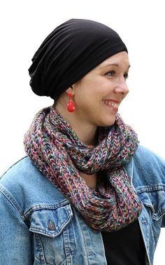 Luxury Chemo Beanie Boho Bamboo Slouchy for Cancer Patients (Black)
