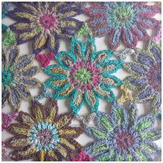atty's: Sunny Crochet Flower Scarf made with Noro Taiyo