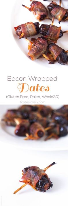 Bacon Wrapped Dates - easy 2 ingredient appetizer or snack. Perfect combo of salty and sweet! #paleo #glutenfree #whole30