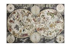 Old Sky Map Depicting Boreal And Austral Hemispheres With Constellations And Zodiac Signs Kunst von marzolino bei AllPosters.de