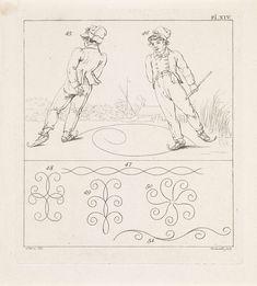 Daniël Veelwaard (I) | Lichamelijke oefeningen; schaatsen, Daniël Veelwaard (I), 1806 | Twee afbeeldingen; boven twee schaatsende jongens op het ijs en onder vijf schematische weergaven van schaatsfiguren. Rechtsboven: Pl. XIV.