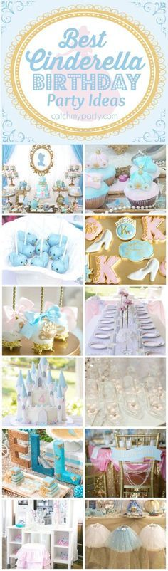 12 Best Cinderella Birthday Party Ideas including ideas for cakes, cupcakes, party favors, decorations, desserts, and more!   CatchMyparty.com