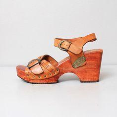 Vintage leather clog sandals.