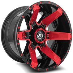 xf off road xf 214 gloss black red inserts aftermarket custom wheels rims Rims And Tires, Rims For Cars, Wheels And Tires, Truck Rims, Truck Wheels, Car Rims, 4x4 Toyota, Tacoma Toyota, Toyota 4runner