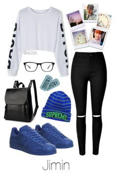 Amusement park with Jimin  by ari2sk on Polyvore featuring polyvore, fashion, style, adidas, Joseph Marc and clothing