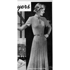 Neckline Slit, banded collar, short sleeves and dramatic cable skirt make this intermediate knitting pattern a winner.