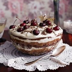 Trifle plus a Black Forest Gateau equals this fabulous retro showstopper of a dessert - The Black Forest Trifle.
