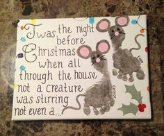 Cute mouse painting with kids foot prints.