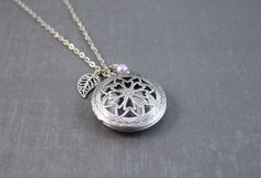 Diffuser Necklace Essential Oil Locket Leaf Necklace by clayware