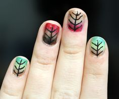 Autumn leaf nail art from Glamourpage