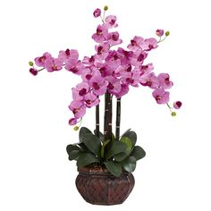 Bring natural elegance to your dining table or nightstand with this lovely faux orchid arrangement, showcasing an array of lifelike blooms in an island-inspi...