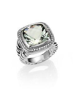 "David+Yurman Prasiolite,+Diamond+&+Sterling+Silver+Ring/.75"""