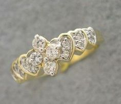 1/3 Ct Tw Cluster Diamond Heart Setting 14k Yellow Gold Ring - Diamond