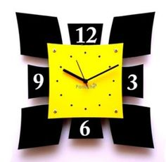 wall clock | Yellow Shield Style Wall Clock