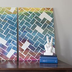Make your own herringbone art. Easy to make, hard to mess up, customizable for your room!