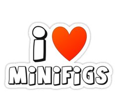 """I Love Minifigs T-Shirt by Customize My Minifig"" Stickers by ChilleeW 