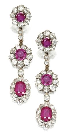 Pink ruby and diamond ear pendants.