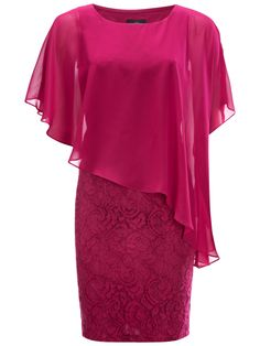 Adrianna Papell Chiffon Drape Overlay Dress, Crushed Berry