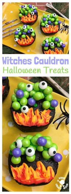 WITCHES CAULDRON HALLOWEEN TREATS will cast a delicious spell at your Halloween party! A tasty Halloween food and craft fusion everyone will like to make, eat and share. Cauldrons filled with bubbling witches potion and topped up with eyes of frog are fun