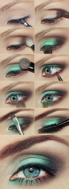 It's all about green Makeup Tips, Beauty Makeup, Eye Makeup, Hair Beauty, Makeup Ideas, Eye Tutorial, Orange Grey, Get The Look, Beauty Hacks