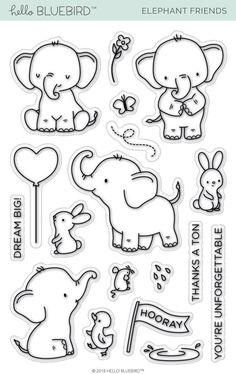 Large selection of clear stamps for stamping from all of the top brands in the industry. Plus exclusive clear stamp designs from our own studios. We have the world's largest selection of paper art supplies. Diy Scrapbook, Scrapbooking, Dibujos Baby Shower, Elephant Template, Elephant Quilt, Elephant Doodle, Cute Elephant Drawing, Elephant Stencil, Baby Elefant