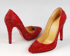 05dc3ccceb9148 Unique Luxury Red Rhinestone And Pearl Covered High Heels
