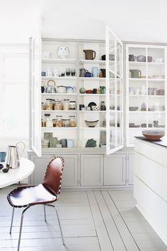 Idea by Nicola Kragh Riis, styling by Rikke Graf Juel Back to portfolio Kitchen Interior, New Kitchen, Kitchen Decor, Kitchen Design, Homemade Cabinets, Interior Decorating, Interior Design, Minimalist Kitchen, Scandinavian Home