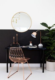 Home office inspiration. Rose gold decor, rose gold details, pretty home office