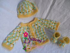 Your little guy will look so handsome in this dashing outfit!!  It's perfectly light weight, and very dressy for a wonderful outing!  Now, I'm listing this as a boy's set, but with the yellows and greens here, it really could work for girls too!  This set was made with my Prince Charming Sweater Set pattern, so you know it was made with extra LOVE!!