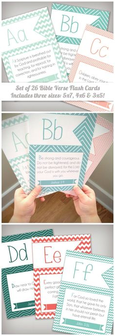 Set of 26 ABC Scripture Bible Verse Memory Flash Cards for Kids - Instant Download - Printable - Includes 3x5, 4x6, and 5x7 sizes! #affiliatelink
