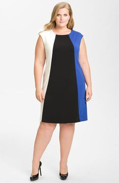 We welcome every plus-size professional woman who wants to build a closet of modern, elegant and well fitting work wear and invite you to visit www.executive-image-consulting.com for more information. Donna Ricco Colorblock Jersey Shift Dress (Plus) available at Nordstrom