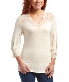 Look at this Natural Circle Lace V-Neck Top on #zulily today!