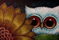 LITTLE OWL BEHIND THE SUNFLOWER by Cyra R. Cancel