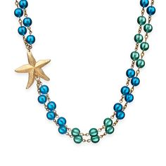 Maureen is star of the sea and this necklace will make you stand out like one. Double strand of blue and green beads come together with a beautiful, textured gold starfish from Manic Trout.  - Goldplate, semi precious stones   $108