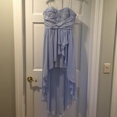 light blue high/low cocktail/prom dress, size 6 strapless, light blue, high to low dress. only worn once to prom, in perfect condition!! size 6 Aidan Mattox Dresses